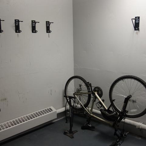 Michelson House Basement Bike Storage showing wall-mounted hooks and 2 bikes