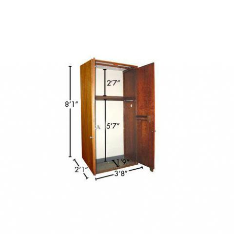 "Wood closet with open doors with dimensions 8'-1"" X 3'-8"" X 2'-1"", with 9"" floor, front to back, 5'-7"" floor to shelf, and 2'-7"" shelf to top."