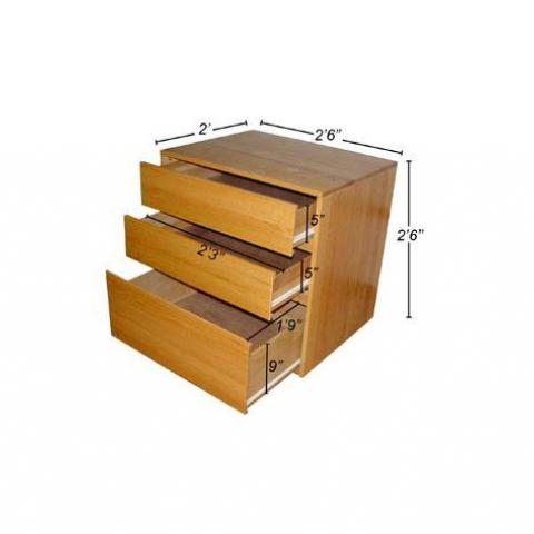 "Wood dresser with open drawers 2'-3"" wide, 5"" tall, 1'-9"" long with 9"" side, and full dimensions 2'-6"" X 2'-6"" X 2'"
