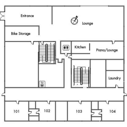 Smith House Floor 1 plan, room 101, 102, 103 and 104, with two restrooms, elevator, bike storage, kitchen, laundry, lounge, piano lounge, entrance, two stairwell and a northwest orientation.