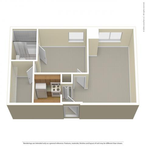 Triangle Tower 1-Bedroom layout detailing rooms, carpeted floor, no furniture