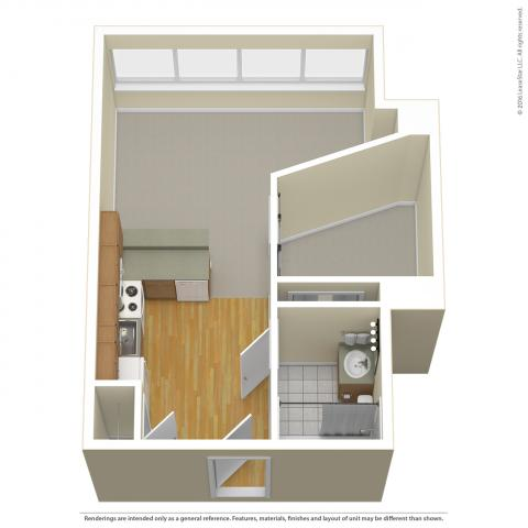 Triangle Tower Jr. One Bedroom layout detailing wood floor kitchen, carpet in other rooms, and bay window