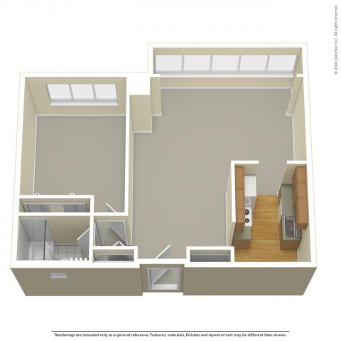 Triangle Tower 1-Bedroom layout detailing carpeted floor, no furniture, and bay window