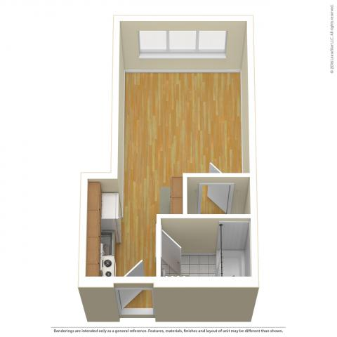 Triangle Tower Studio layout 1 detailing wood floors and not furniture