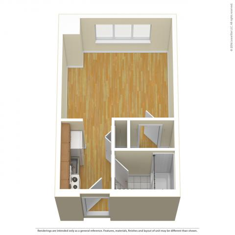 Triangle Tower Studio layout detailing wood floors and no furniture