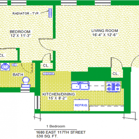 "Unit 101, 201, 301, 401 Floor Plan, 1 bedroom at 1680 east 117th street, 530 sq. ft., bedroom 12'X11'-3"", living room 16'-4"", kitchen/dining 15""X8'-2"", with bath, corridor, and radiator-typ, three closets, and refrigrerator"