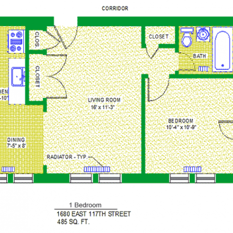 "Unit 103, 203, 303, 403 Floor Plan, 1 bedroom at 1680 east 117th street, 485 sq. ft., bedroom 10'-4"" X 10'-9"", living room 16' X 11'-3"", kitchen, 8'-6"" X 5'-10"", dining 7'-5"" X 8', with bath, corridor, radiator-typ, four closets, and refrigerator"