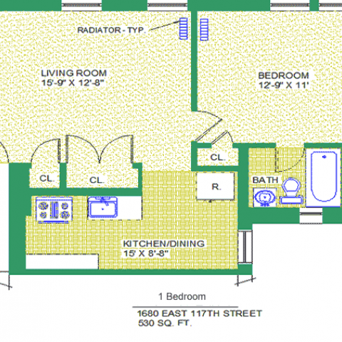 "Unit 202, 302, 402 Floor Plan, 1 bedroom at 1680 east 117th street, 530 sq. ft., bedroom 12' X 9""-11', living room 15'-9"" X 12'-8"", kitchen/dining 15"" X 8'-8"", with bath, corridor, and radiator-typ, four closets, and refrigerator."