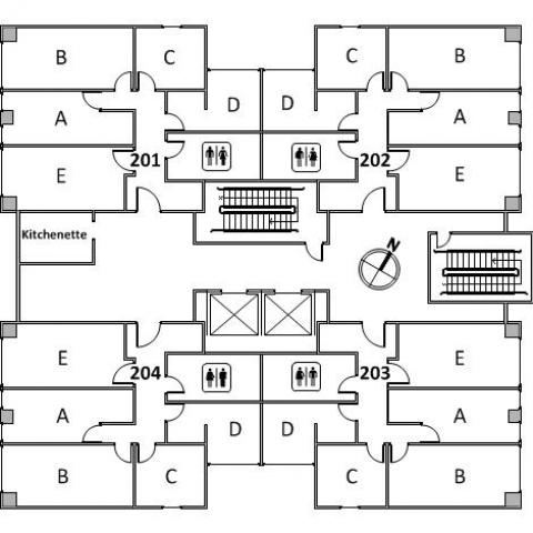 Clarke Tower Floor 2 plan, room 201 A,B,C,D, and E, room 202 A,B,C,D, and E, room 203, A,B,C,D, and E, room 204 A,B,C,D and E, with four restrooms, kichenette, two stairs and a northwest orientation