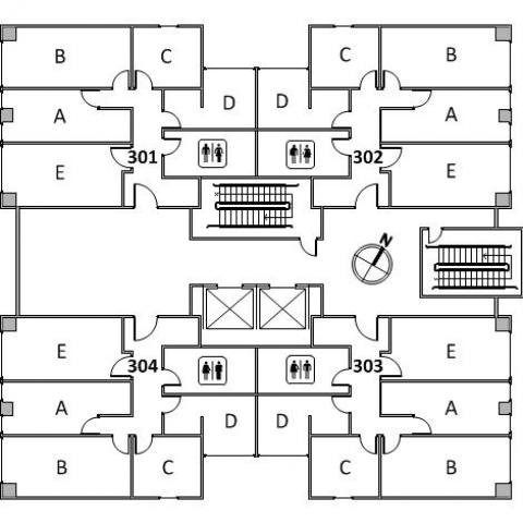 Clarke Tower Floor 3 plan, room 301 A,B,C,D, and E, room 302 A,B,C,D, and E, room 303, A,B,C,D, and E, room 304 A,B,C,D and E, with four restrooms, two stairs and a northwest orientation