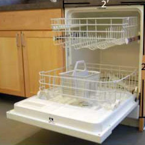 "Village apartment dishwasher with dimensions 2'-10"" tall and 2' deep"