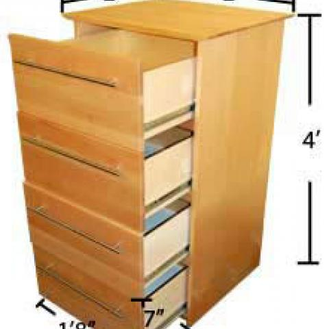 "Village and STJ dresser with open drawers with dimensions 4' tall, 2' long and 2' wide, with drawers 1'-8"" X 7"" and 1'-8"" deep"