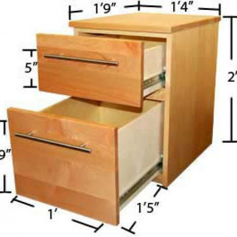 "Village and STJ file cabinet with open drawers with dimensions 2' tall, 1'-9"" long, 1'-4"" wide, with drawers 1' X 9"" X 1'-5"", with 5"" inner side"