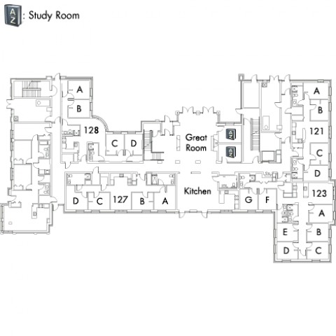 Village House 2 Floor 1 plan, with rooms 121 A,B,C and D, 123 A,B,C,D,E,F and G, 127 A,B,C and D, and 128 A,B,C and D, with great room, kitchen, AZ study room and three stairwell.