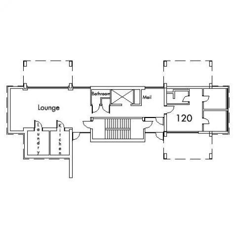 Staley House Floor 1 plan, room 120, with lounge, bathroom, mail room, laundry, kitchen and stairwell.