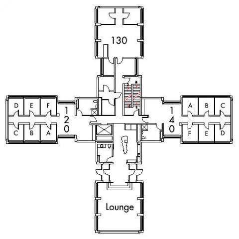 Michelson House Floor 1 plan, rooms 120 A,B,C,D,E and F, 130, and 140 A,B,C,D E and F, with lounge and three bathroom and one stairwell.