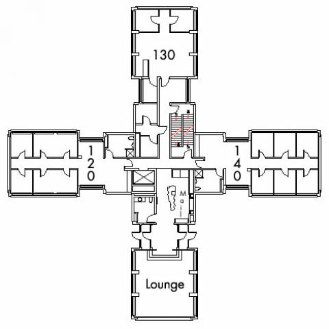 Glaser House Floor 1 plan, rooms 120, 130 and 140, with lounge, three bathroom, mailroom and one stairwell.