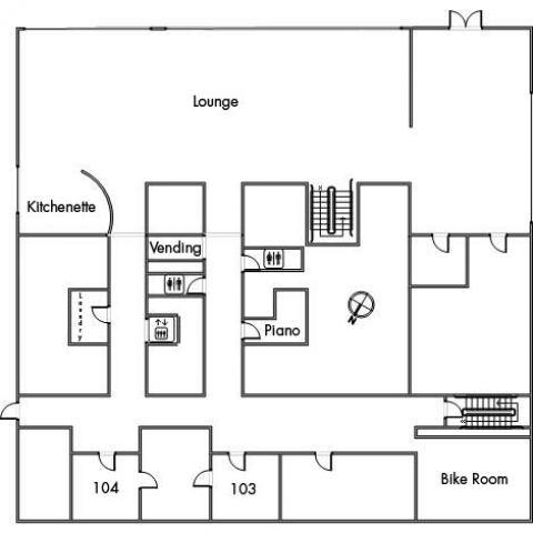 Norton House Floor 1 plan, with room 103, 104, two restrooms, elevator, kitchenette, lounge, vending machine, piano, bike room, two stairwells and a southeast orientation.
