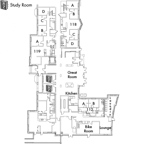 Village House 6 Floor 1 plan with rooms 112 A and B, 118 A,B,C and D, 119 A,B,C and D, with great room, kitchen, bike room, two lounges, two AZ study rooms and two stairwell.