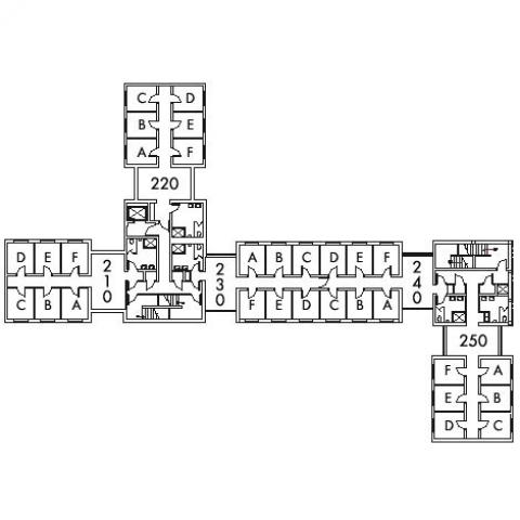 Alumni House Floor 2 plan, rooms 210 A,B,C,D,E and F, 220 A,B,C,D E and F, 230 A,B,C,D,E and F, 240 A,B,C,D,E and F, and 250 A,B,C,D,E and F, with six bathroom, and two stairwell