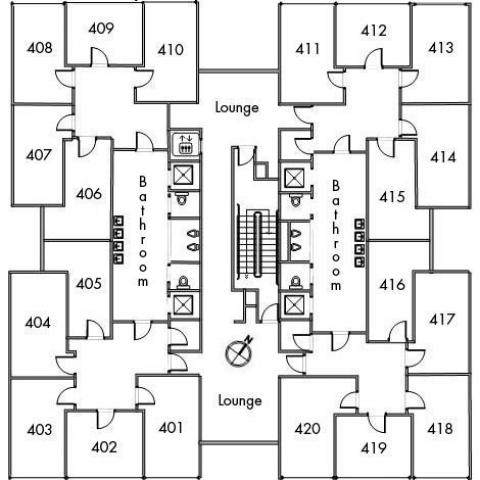 Storrs House Floor 4 plan, room 401, 402, 403, 404, 405, 406, 407, 408, 409, 410, 411, 412, 413, 414, 415, 416, 417, 418, 419, and 420 with two bathrooms, elevator, two lounges, one stairwell and a northwest orientation.