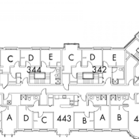 Village House 3A Floor 4 plan, rooms 344, C,D and E, 342 C,D and E, 440 A,B,C and D, 441 A and B, 443 A,B,C and D, and 445 A,B,C and D, with five stairwell.