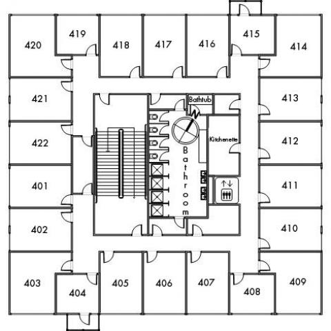Raymond House Floor 4 plan, room 401, 402, 403, 404, 405, 406, 407, 408, 409, 410, 411, 412, 413, 414, 415, 416, 417, 418, 419, 420, 421 and 422, with bathroom, elevator, kitchenette, bathtub, one stairwell and a northwest orientation.