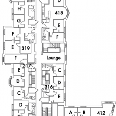 Village House 6 Floor 4 plan, rooms 311 C,D and E, 316 C,D and E, 317 C,D,E and F, 319 E,F,G,H and J, 412 A,B,C and D, 415 A,B,C and D, 418 A,B,C,D,E and F, with lounge and six stairwell.