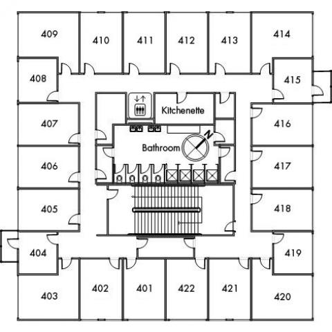 Tyler House Floor 4 plan, room 401, 402, 403, 404, 405, 406, 407, 408, 409, 410, 411, 412, 413, 414, 415, 416, 417, 418, 419, 420, 421 and 422, with bathroom, elevator, kitchenette, one stairwell and a northwest orientation.