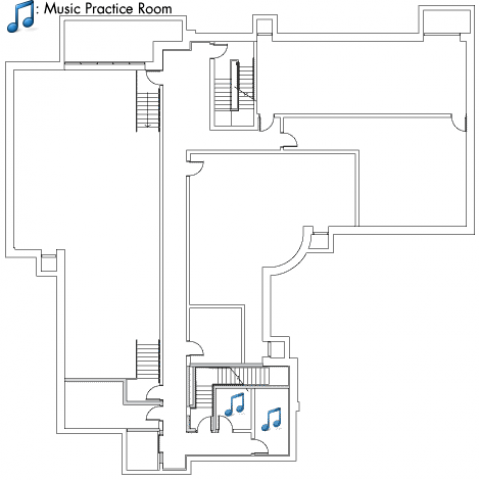 Village House 5 Basement plan with four large rooms, two music practice rooms and four stairwell.