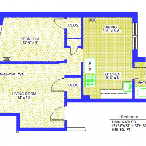 "Unit 5, 9, 11 Floor Plan one bedroom at 1715 East 115th street, 545 sq. ft., bedroom 12'-6"" X 9', living room, 14' X 13', kitchen 9'-6"" X 8', dining 9'-6"" X 8'-6"", with refrigerator, two closets, radiator-typ and bath"
