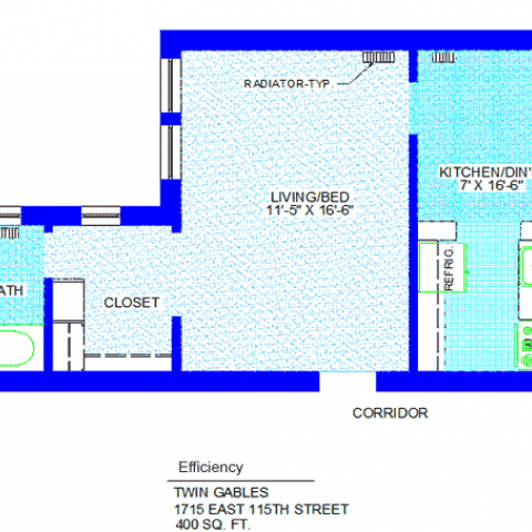 "Unit 2, 7, 15, 21 Floor Plan Efficiency at 1715 East 115th street, 400 sq. ft., living/bed 11'-5"" X 16'-6"", kitchen/dining 7' X 16'-6"", with refrigerator, sink, corridor, closet, radiator-typ and bath"