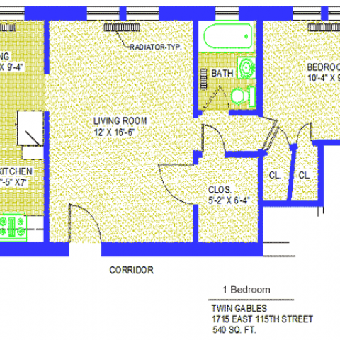 "Unit 8, 16, 20 Floor Plan one bedroom at 1715 East 115th street, 540 sq. ft., bedroom 10'-4"" X 9', living room, 12' X 16'-6"", kitchen 7'-5"" X 7', dining 7'-5"" X 9'-4"", closet 5'-2"" X 6'-4"",with two more closets, radiator-typ, corridor and bath"