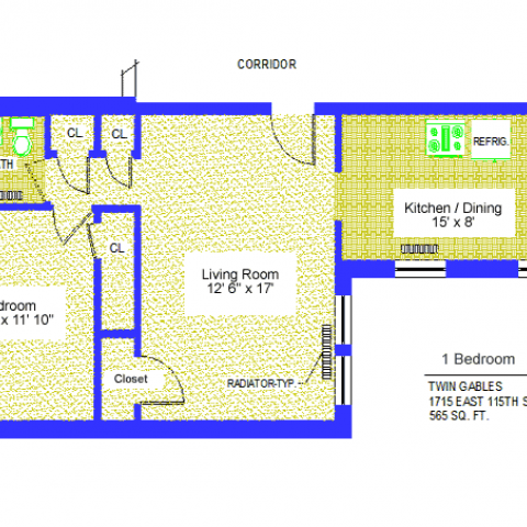 "Unit 9, 17, 23 Floor Plan one bedroom at 1715 East 115th street, 565 sq. ft., bedroom 10'-4"" X 11'-10"", living room, 12'-6"" X 17', kitchen/dining 15' X 8', with four closets, radiator-typ, corridor, bath and refrigerator"