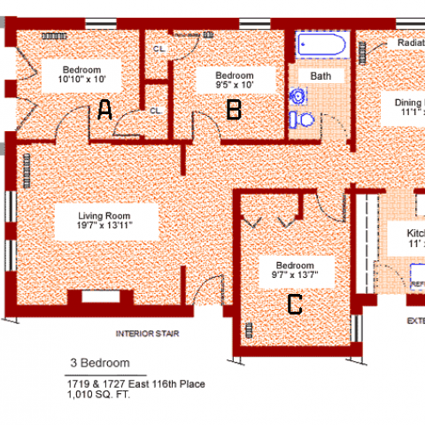 "Three bedroom apartment at 1719 and 1727 East 116th place, 1010 sq. ft., three bedrooms (A,B and C), 10'-10"" X 10', 9'-5"" X 10' and 9'-7"" X 13'-7"", living room 19'-7"" X 13'-11"", kitchen 11' X 9', dining room 11'-1"" X 14', with bath, interior stair, exterior stair, porch, radiator, two closets and refrigerator"