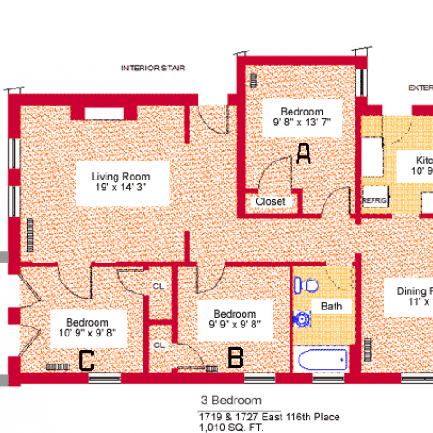 "Three bedroom apartment at 1719 and 1727 East 116th place, 1010 sq. ft., three bedrooms (A,B and C), 9'-8"" X 13'-7"", 9'-9"" X 9'-8"" and 10'-9"" X 9'-8"", living room 19' X 14'-3"", kitchen 10'-9"" X 9', dining room 11' X 14', with bath, interior stair, exterior stair, porch, three closets and refrigerator"