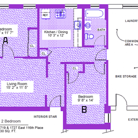 "Two bedroom apartment at 1719 and 1727 East 116th place, 730 sq. ft., two bedrooms (A and B), 13' X 11'-7"" and 9'-8"" X 14', living room 15'-2"" X 11'-5"", kitchen/dining 10'-3"" X 12', with bath, interior stair, exterior stair, laundry, common area, bike storage, three closets and refrigerator"