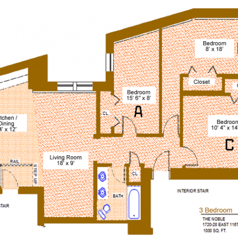 "Unit 14 Floor Plan, three bedroom at the noble, 1720-28 east 116th place, 1000 sq. ft., three bedrooms (A, B and C), 15'-6"" X 8', 8' X 18' and 10'-4"" X 14'-5"", living room 18' X 9', kitchen/dining 14' X 12', with bath, interior stair, exterior stair, rail step up, four closets and refrigerator"