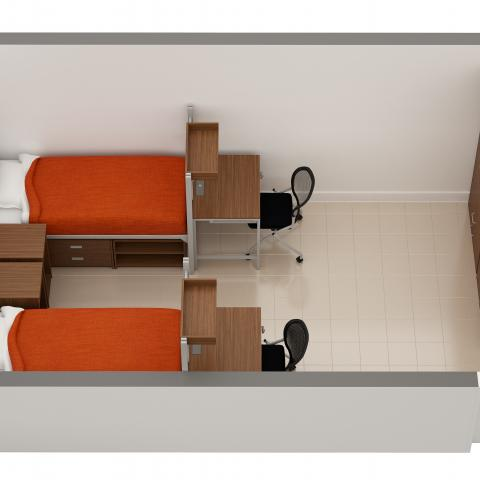 Clarke Tower sample double room layout