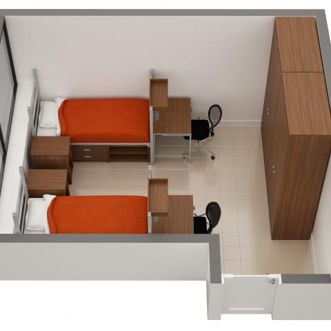 Storrs House sample double room layout