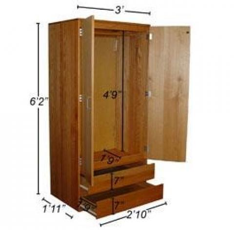 Wood Wardrobe with dimensions