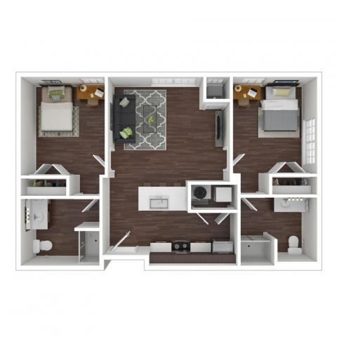 Hazel Apartments, 2 Bedroom, three dimensional example layout