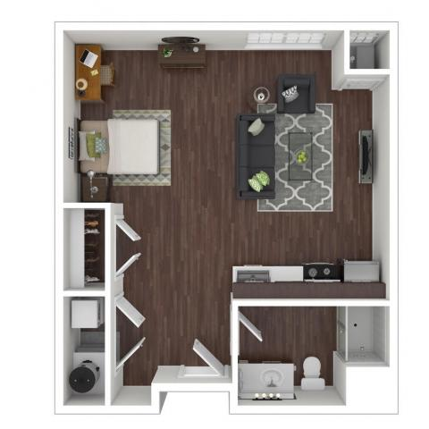 Hazel Apartments Studio three dimensional example layout