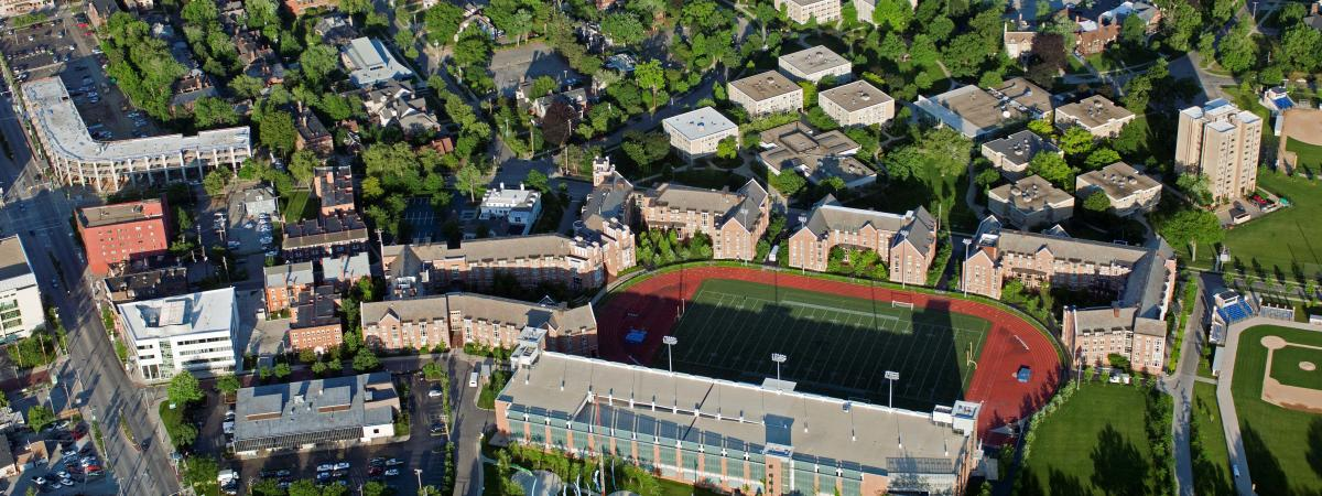 Aerial Image of North Residential Area, with DiSanto Field and the Village at 115 in center
