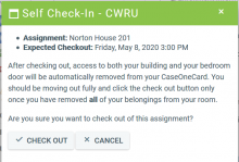 MyHousing Confirmation Page for Remote Check Out