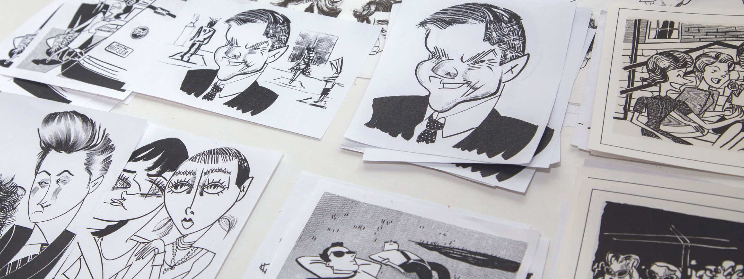 Picture of a few drawings out of Tom Bachtell's body of work