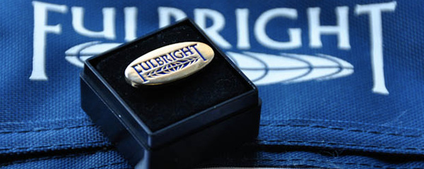 Picture of a fulbright pin and logo