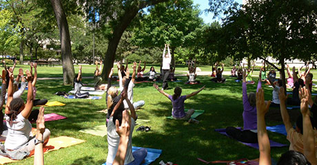 Photo of students doing yoga on the quad