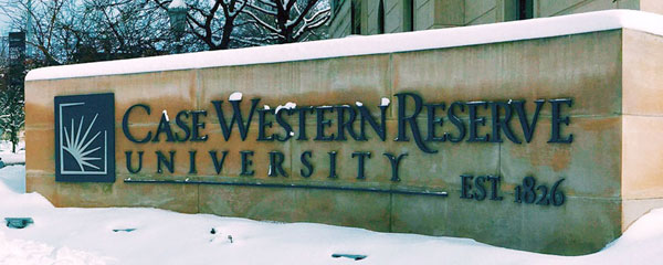 Photo of the CWRU sign with snow on it