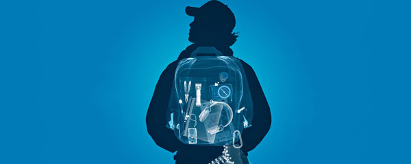 Illustratation of a student on blue background with an x-ray view of contents of his backpack